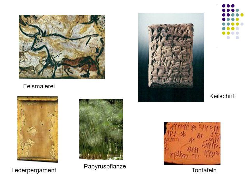 Felsmalerei Keilschrift Papyruspflanze Lederpergament Tontafeln