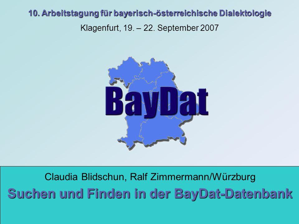 Suchen und Finden in der BayDat-Datenbank