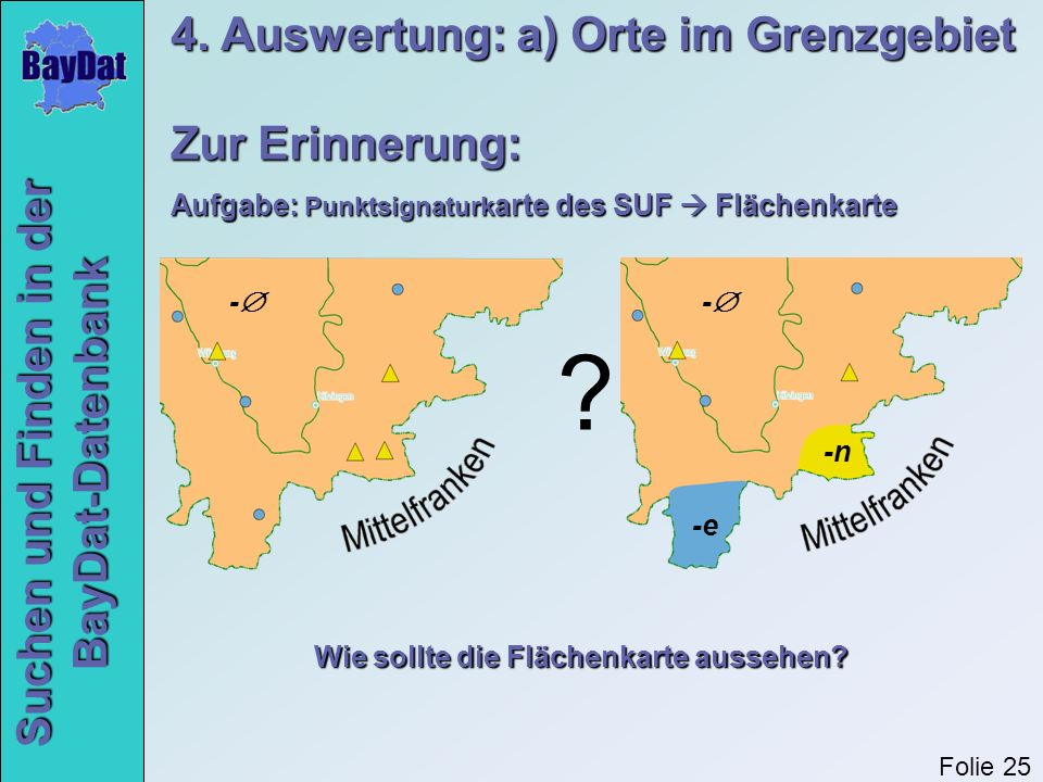 4. Auswertung: a) Orte im Grenzgebiet Zur Erinnerung: