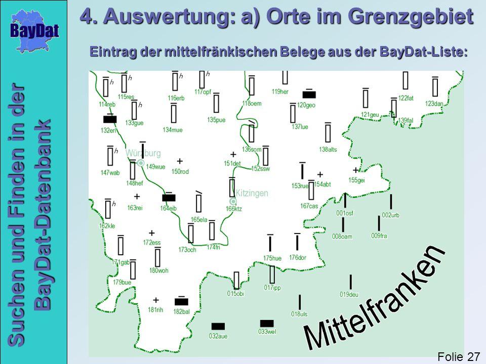 4. Auswertung: a) Orte im Grenzgebiet