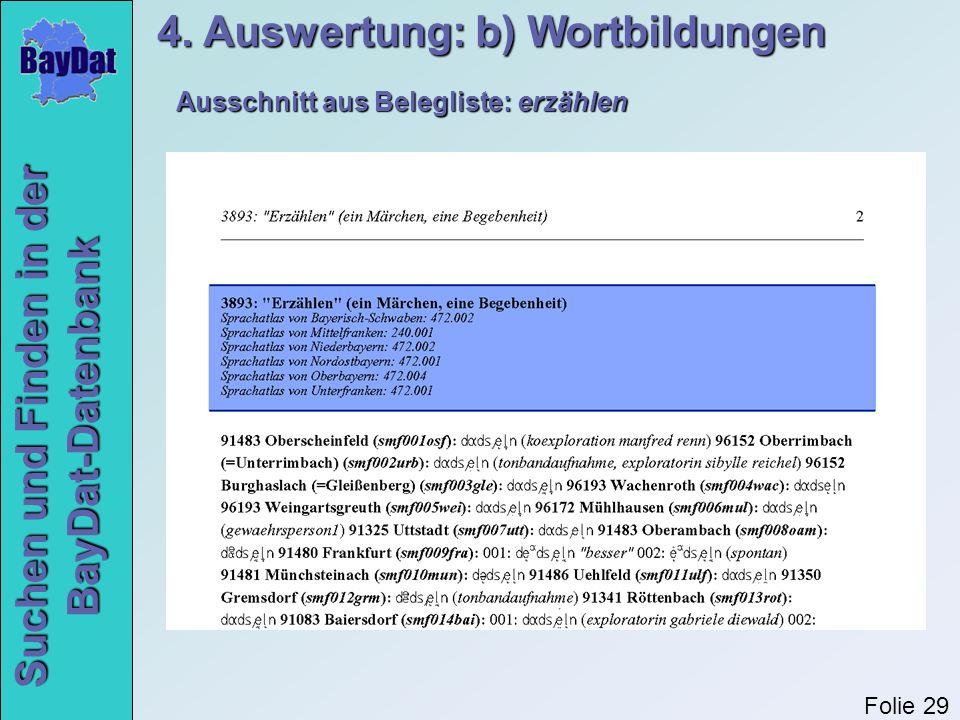 4. Auswertung: b) Wortbildungen