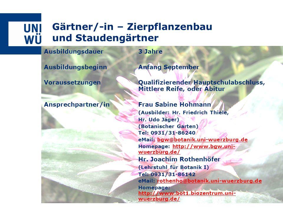Gärtner/-in – Zierpflanzenbau und Staudengärtner