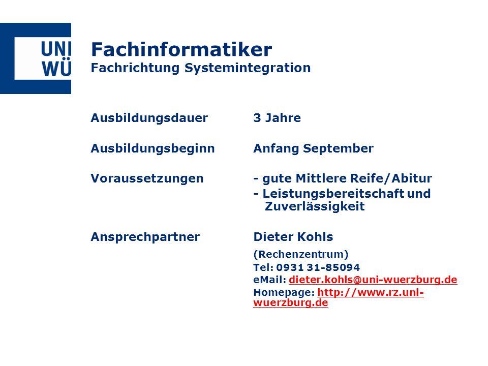 Fachinformatiker Fachrichtung Systemintegration