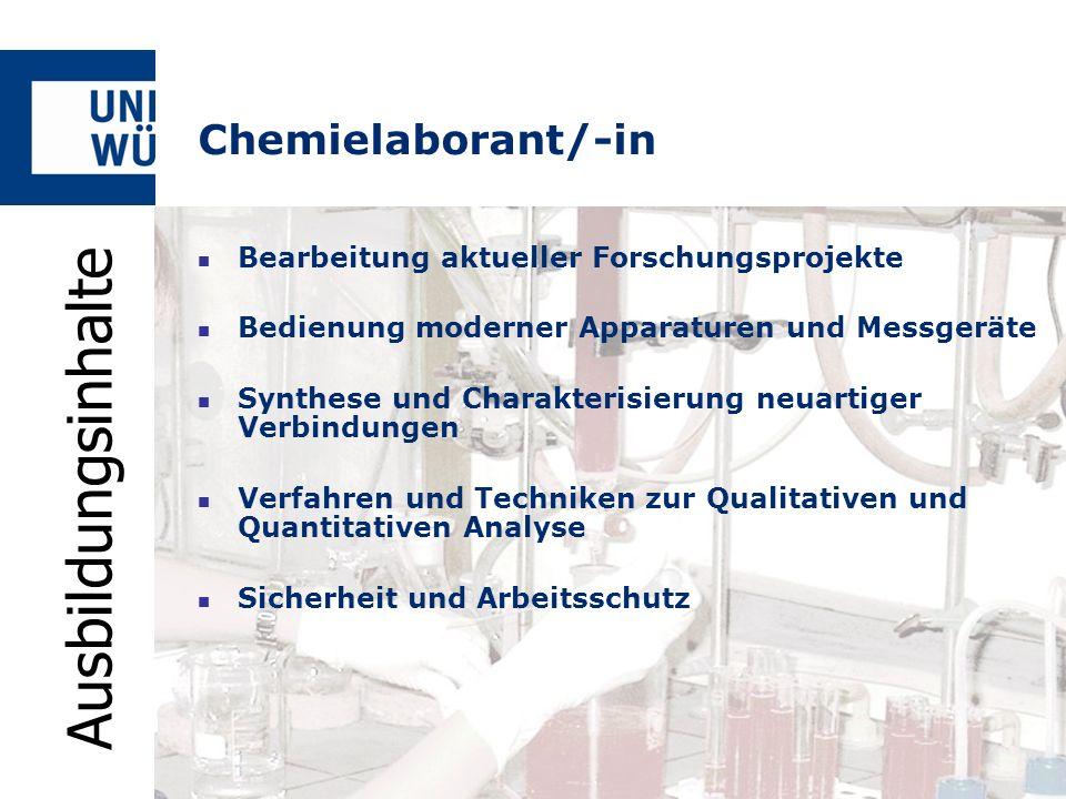 Ausbildungsinhalte Chemielaborant/-in