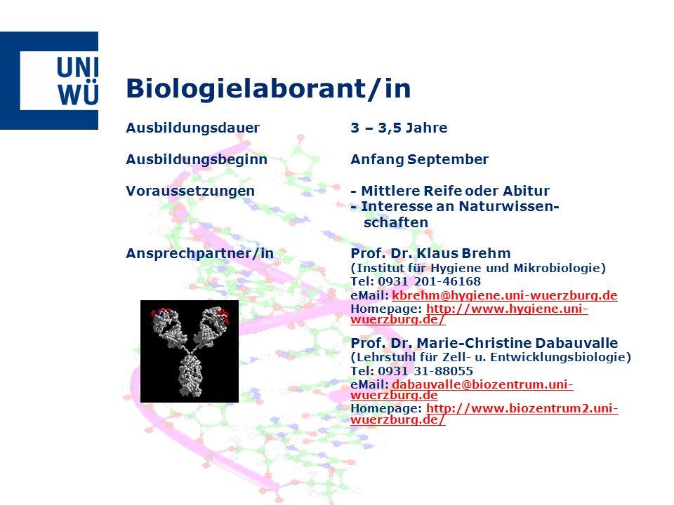 Biologielaborant/in Ausbildungsdauer 3 – 3,5 Jahre