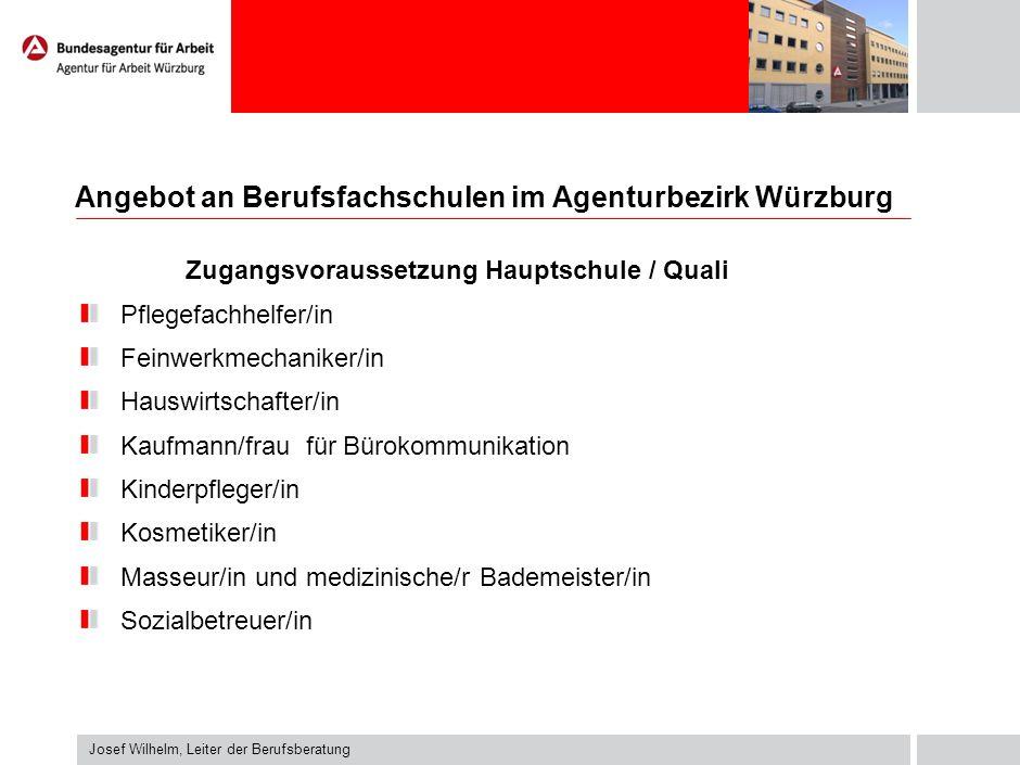 Angebot an Berufsfachschulen im Agenturbezirk Würzburg