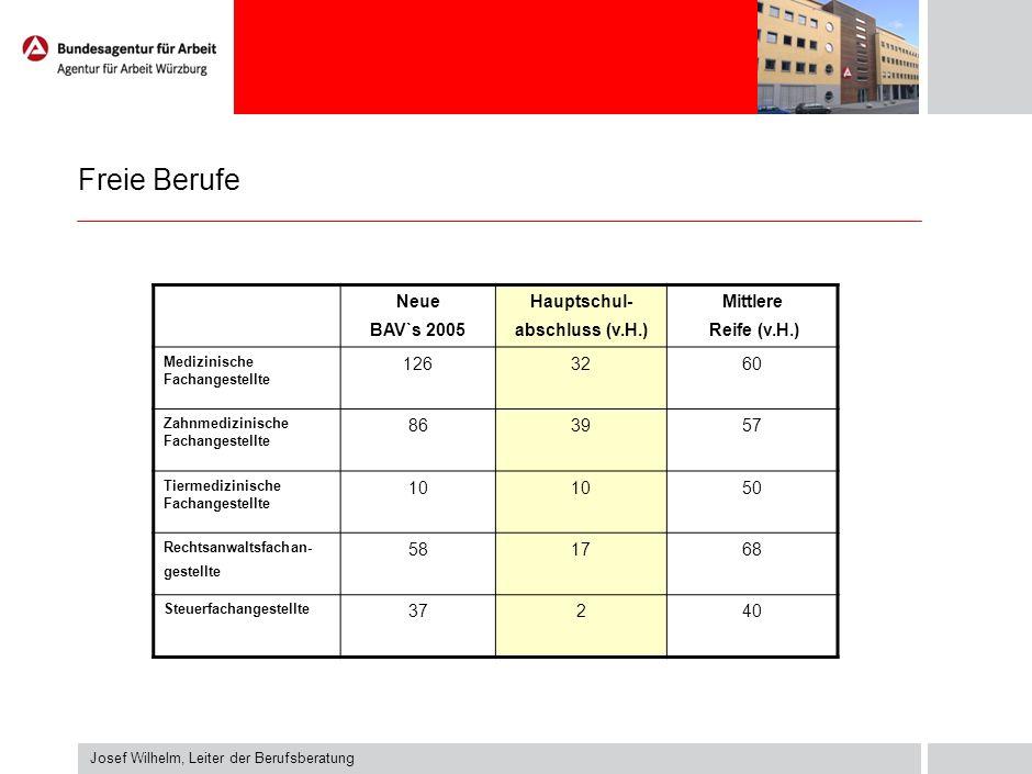 Freie Berufe Neue BAV`s 2005 Hauptschul- abschluss (v.H.) Mittlere