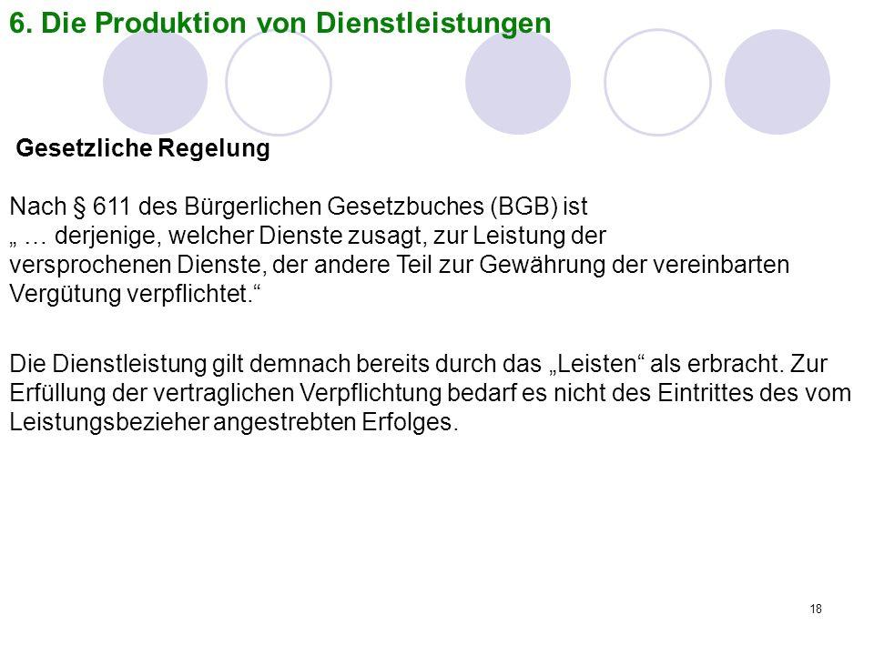 6. Die Produktion von Dienstleistungen