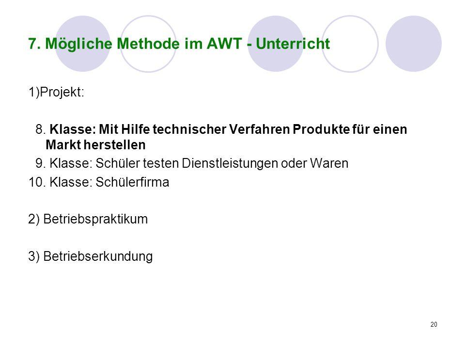 7. Mögliche Methode im AWT - Unterricht