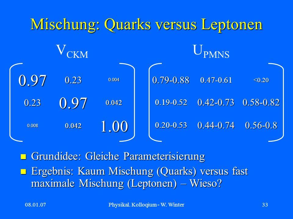 Mischung: Quarks versus Leptonen
