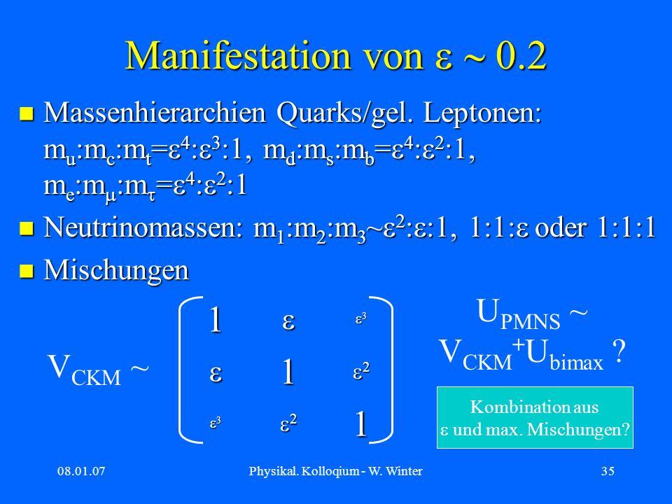 Manifestation von e ~ 0.2 1 UPMNS ~ VCKM+Ubimax VCKM ~