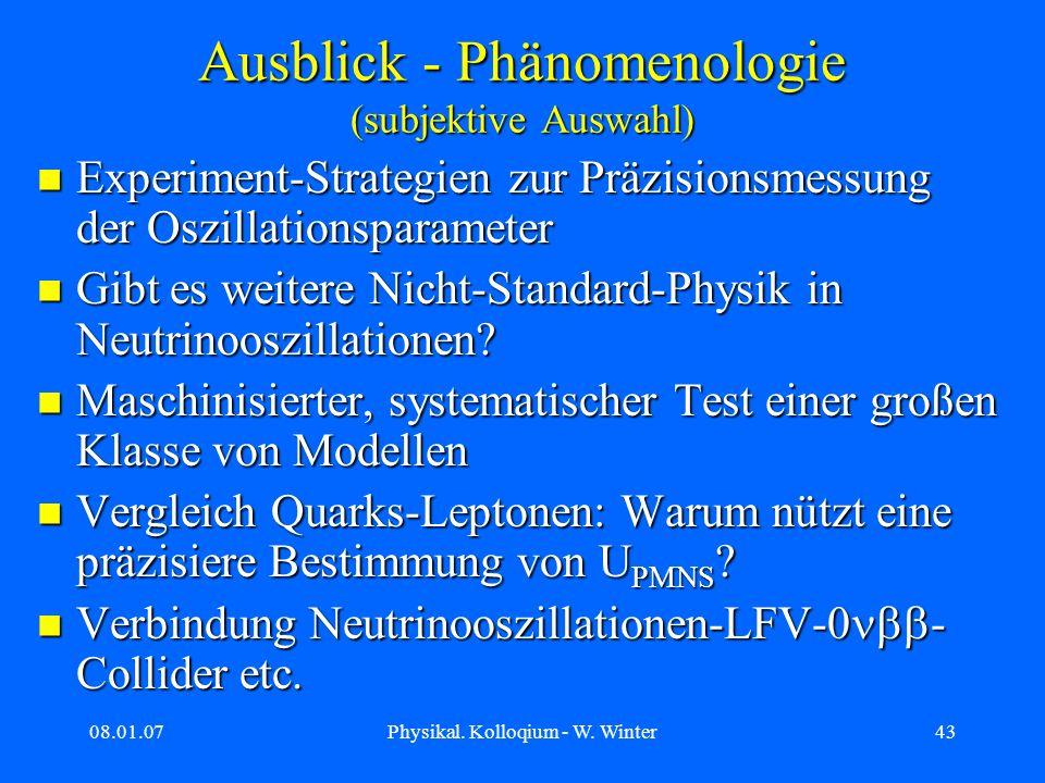 Ausblick - Phänomenologie (subjektive Auswahl)