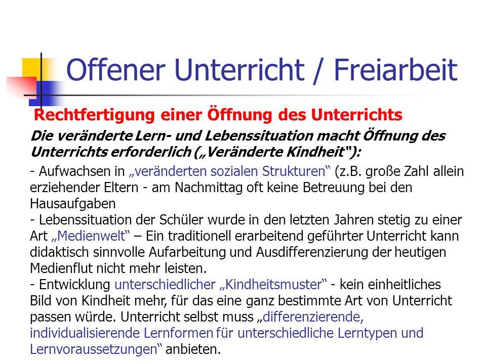 Offener Unterricht / Freiarbeit