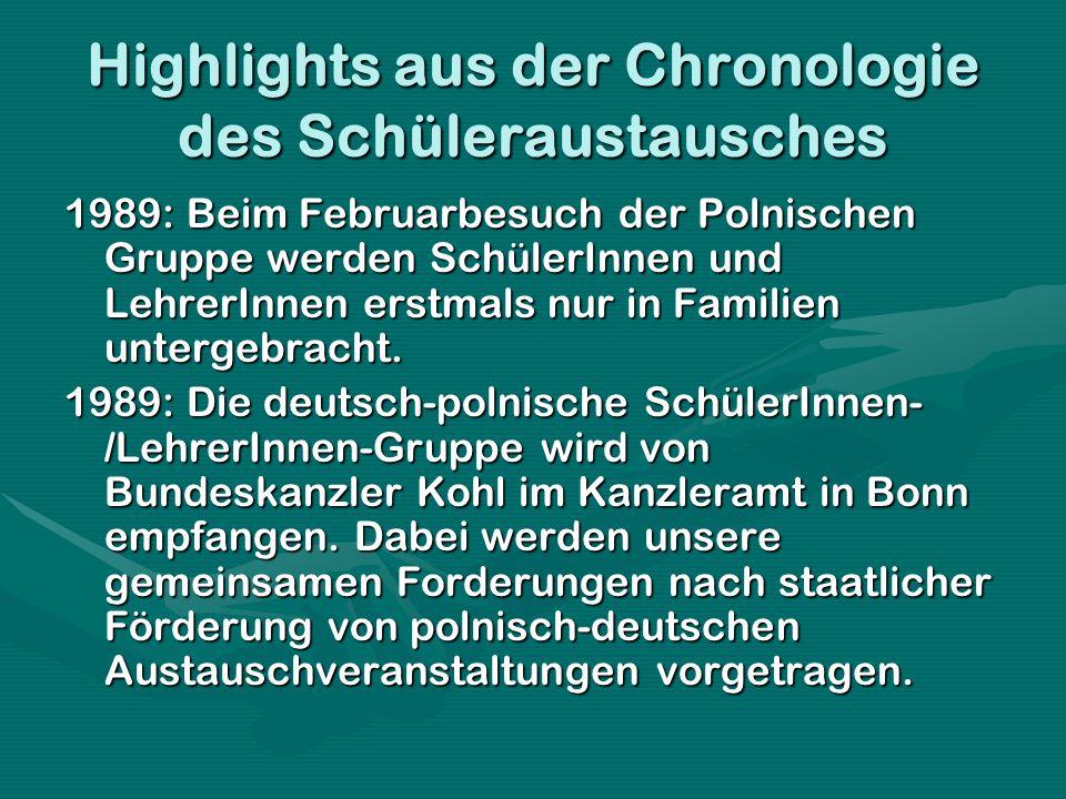Highlights aus der Chronologie des Schüleraustausches