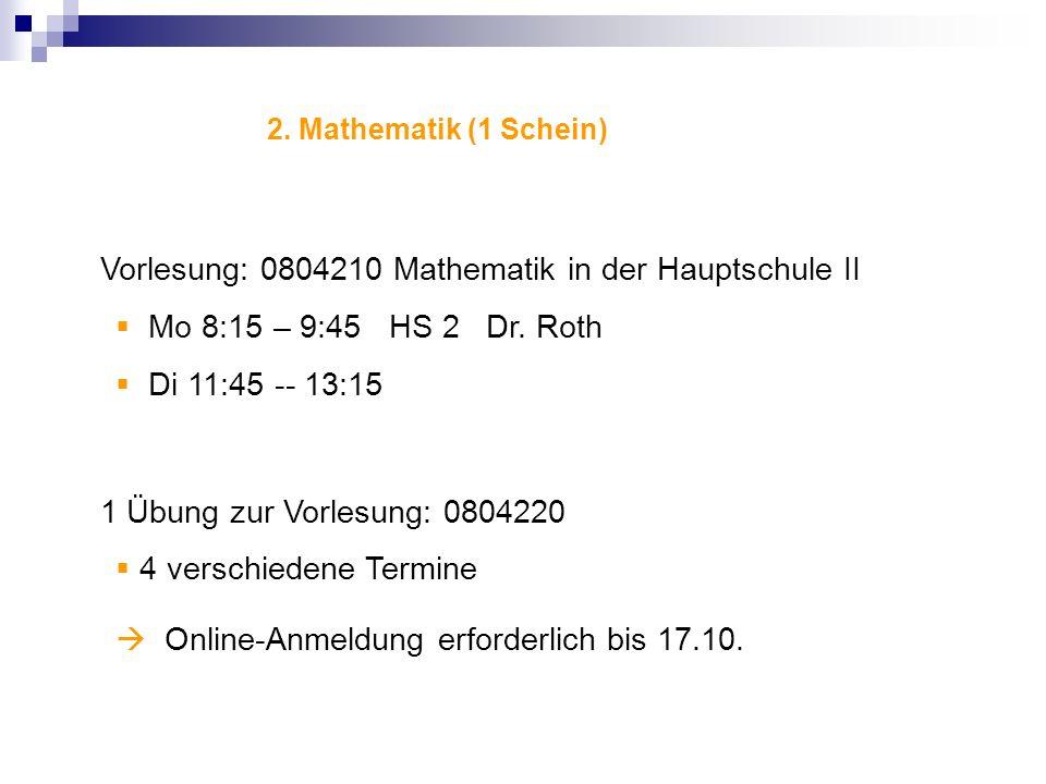 Vorlesung: 0804210 Mathematik in der Hauptschule II