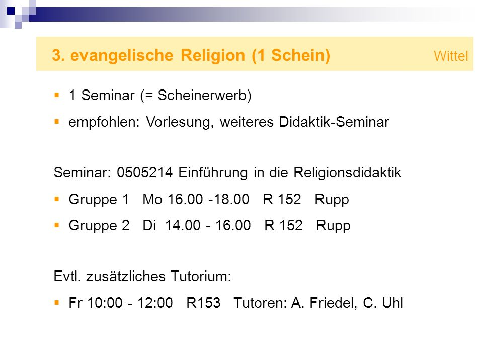 3. evangelische Religion (1 Schein) Wittel