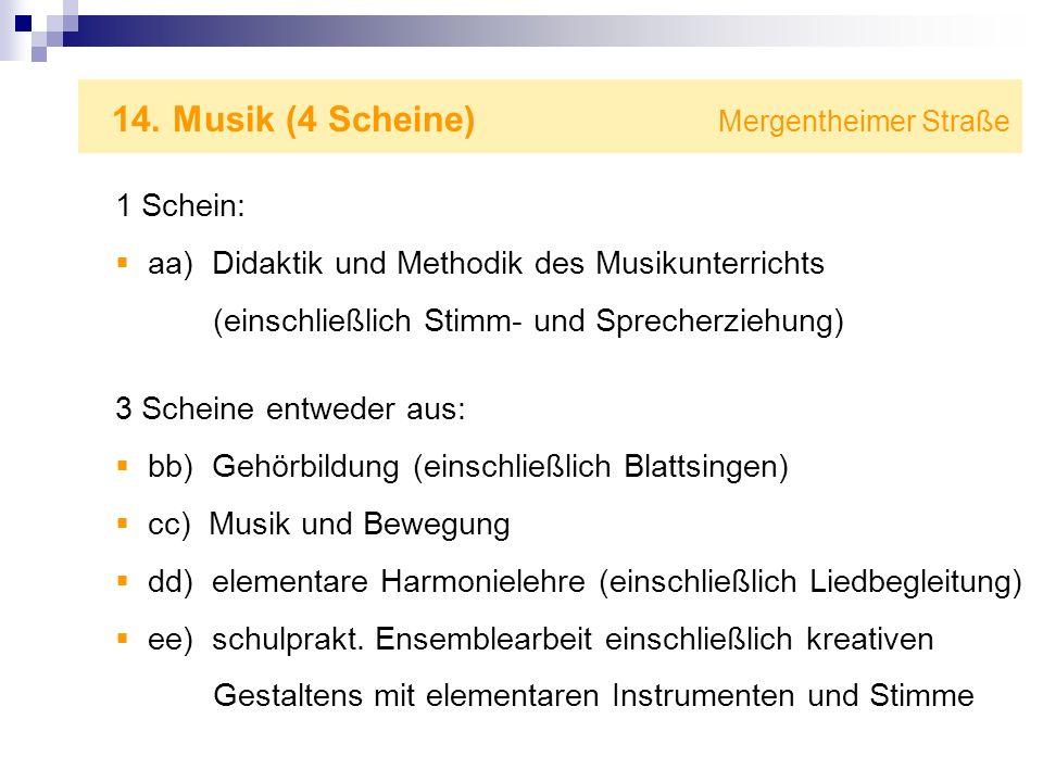 14. Musik (4 Scheine) Mergentheimer Straße