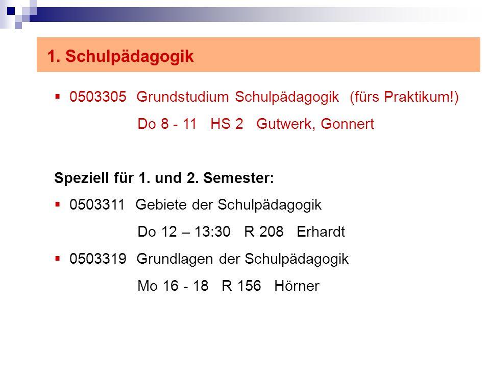 1. Schulpädagogik 0503305 Grundstudium Schulpädagogik (fürs Praktikum!) Do 8 - 11 HS 2 Gutwerk, Gonnert.