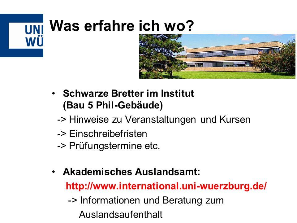 Was erfahre ich wo Schwarze Bretter im Institut (Bau 5 Phil-Gebäude)