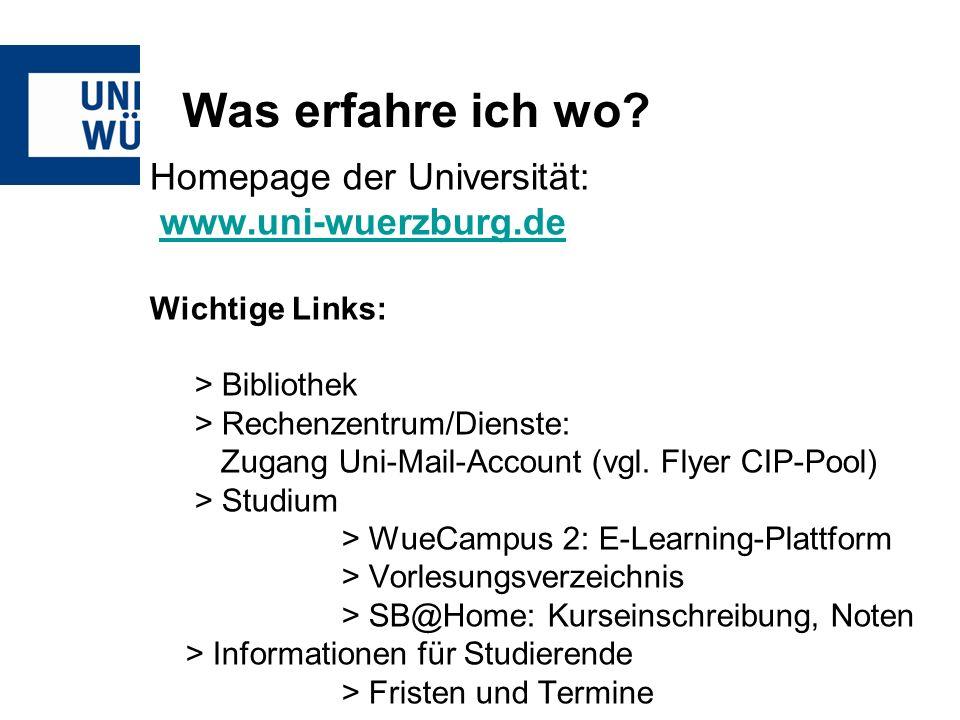 Was erfahre ich wo Homepage der Universität: www.uni-wuerzburg.de