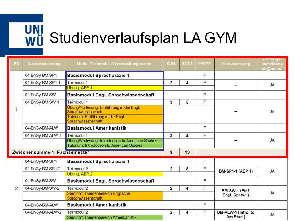 Studienverlaufsplan LA GYM