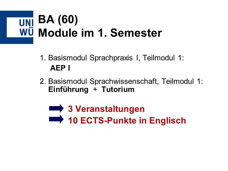 BA (60) Module im 1. Semester