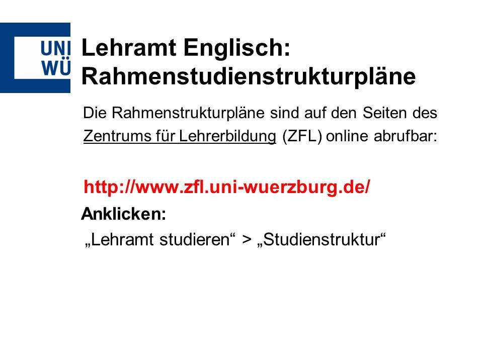Lehramt Englisch: Rahmenstudienstrukturpläne