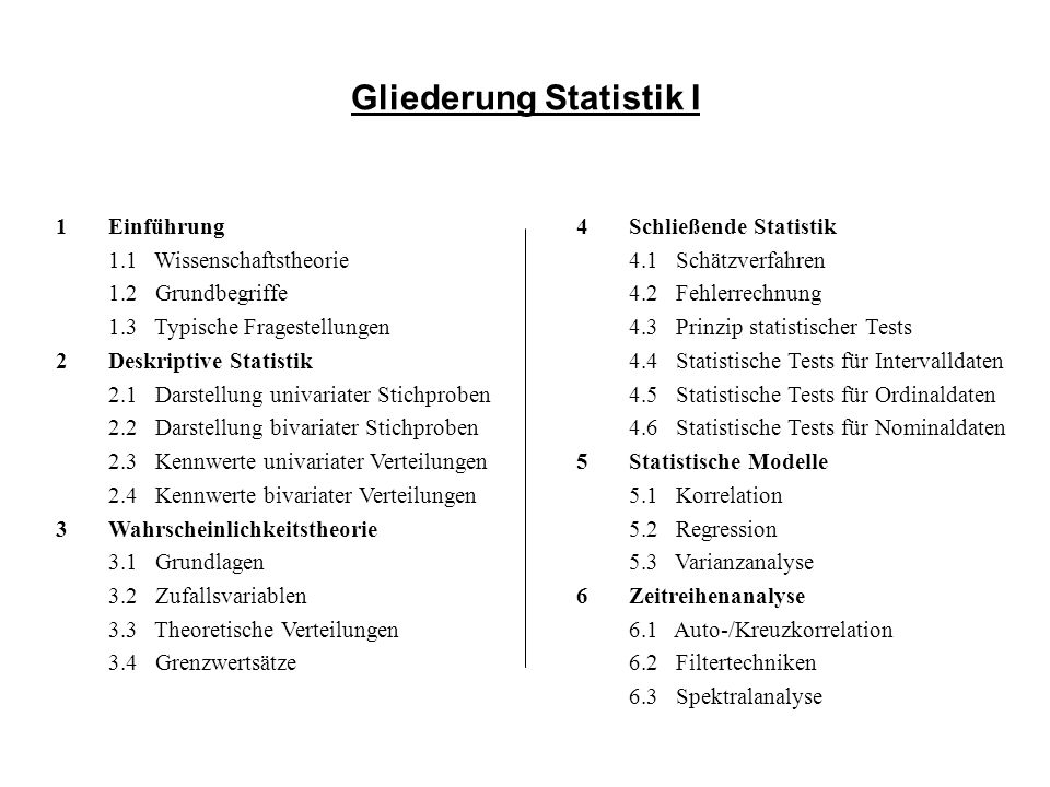 Gliederung Statistik I