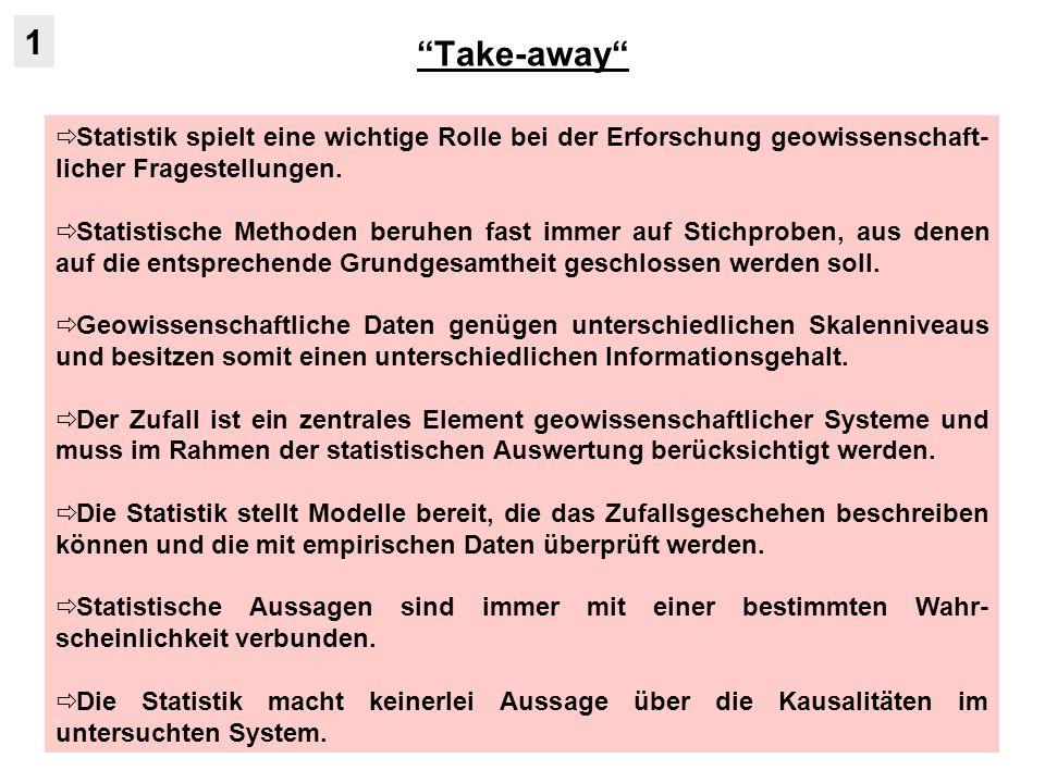 Take-away 1. Statistik spielt eine wichtige Rolle bei der Erforschung geowissenschaft-licher Fragestellungen.