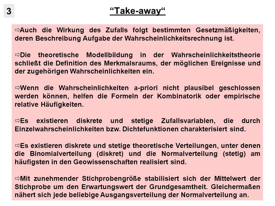 Take-away 3. Auch die Wirkung des Zufalls folgt bestimmten Gesetzmäßigkeiten, deren Beschreibung Aufgabe der Wahrscheinlichkeitsrechnung ist.