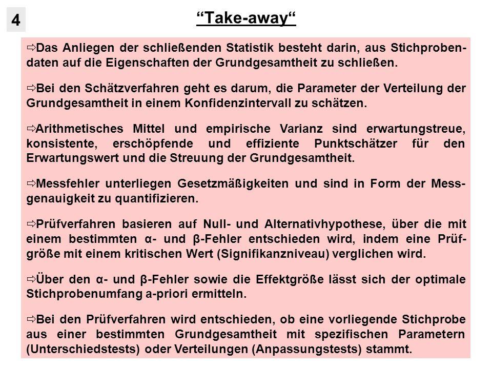 Take-away 4. Das Anliegen der schließenden Statistik besteht darin, aus Stichproben-daten auf die Eigenschaften der Grundgesamtheit zu schließen.