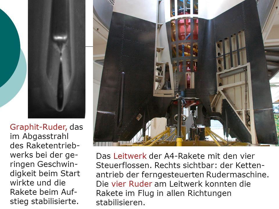 Graphit-Ruder, das im Abgasstrahl des Raketentrieb-werks bei der ge-ringen Geschwin-digkeit beim Start wirkte und die Rakete beim Auf-stieg stabilisierte.