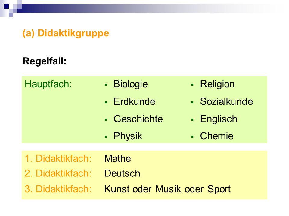 (a) Didaktikgruppe Regelfall: Hauptfach: Biologie. Erdkunde. Geschichte. Physik. Religion. Sozialkunde.