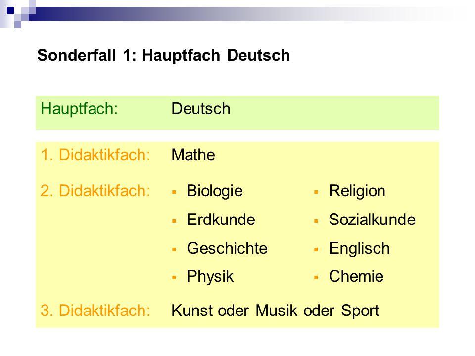 Sonderfall 1: Hauptfach Deutsch