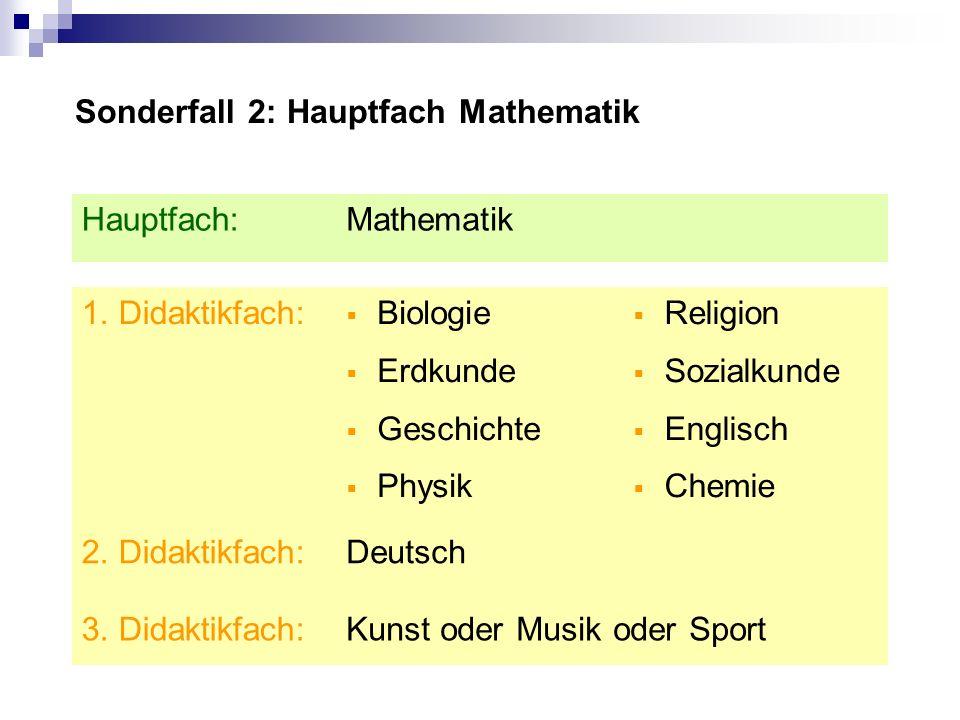 Sonderfall 2: Hauptfach Mathematik