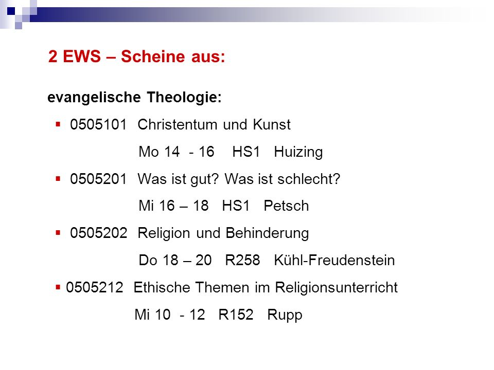 2 EWS – Scheine aus: evangelische Theologie: