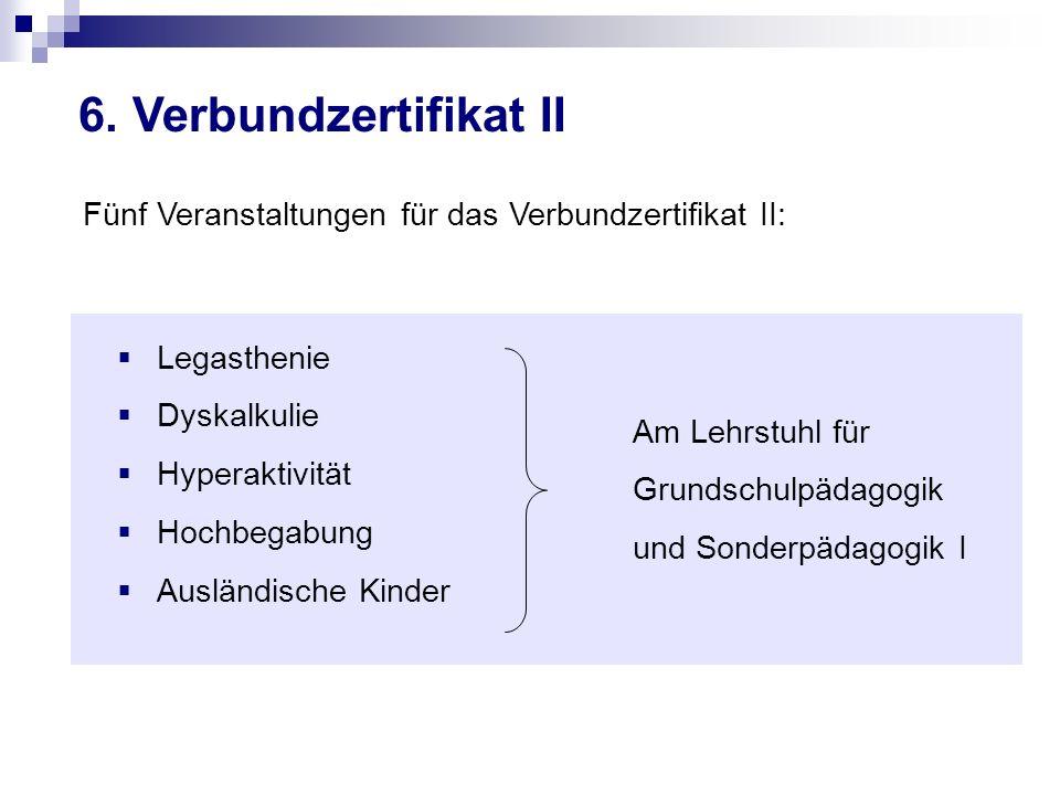 6. Verbundzertifikat II Fünf Veranstaltungen für das Verbundzertifikat II: Legasthenie. Dyskalkulie.