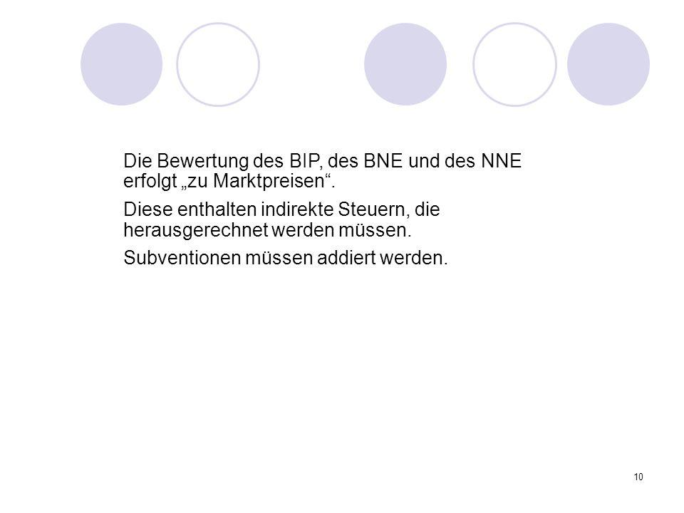 """Die Bewertung des BIP, des BNE und des NNE erfolgt """"zu Marktpreisen ."""