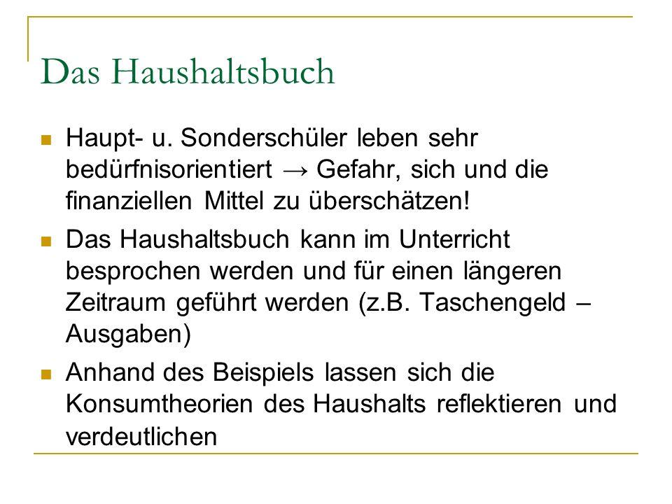 Das Haushaltsbuch Haupt- u. Sonderschüler leben sehr bedürfnisorientiert → Gefahr, sich und die finanziellen Mittel zu überschätzen!