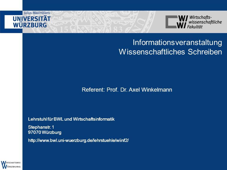 Informationsveranstaltung Wissenschaftliches Schreiben