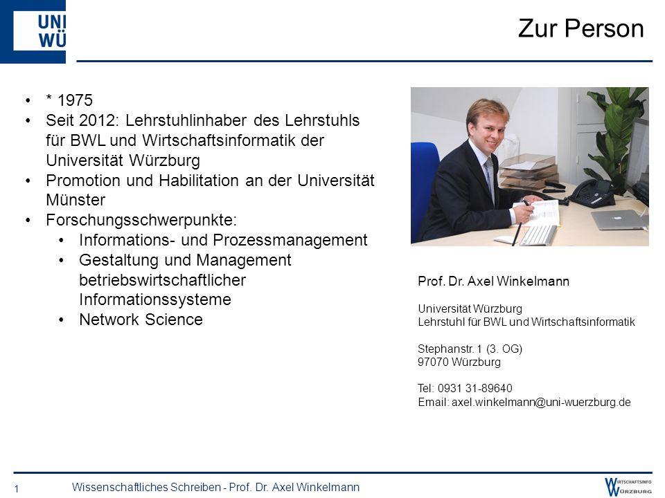 Zur Person* 1975. Seit 2012: Lehrstuhlinhaber des Lehrstuhls für BWL und Wirtschaftsinformatik der Universität Würzburg.