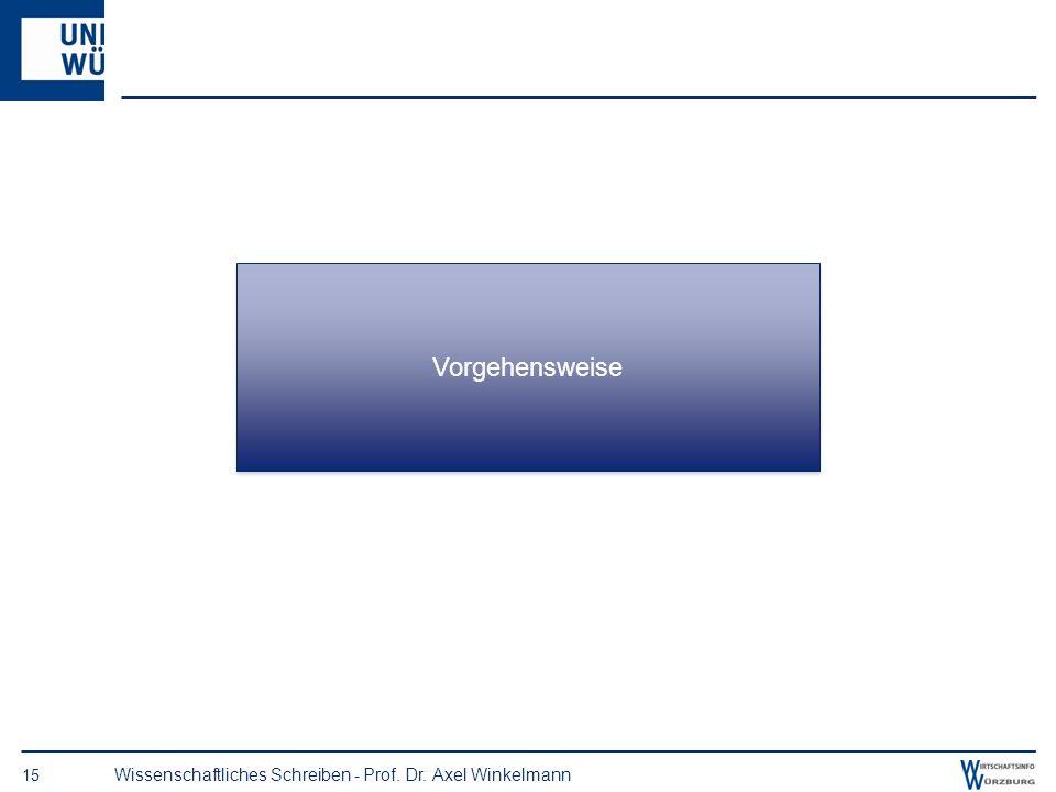 Vorgehensweise Wissenschaftliches Schreiben - Prof. Dr. Axel Winkelmann