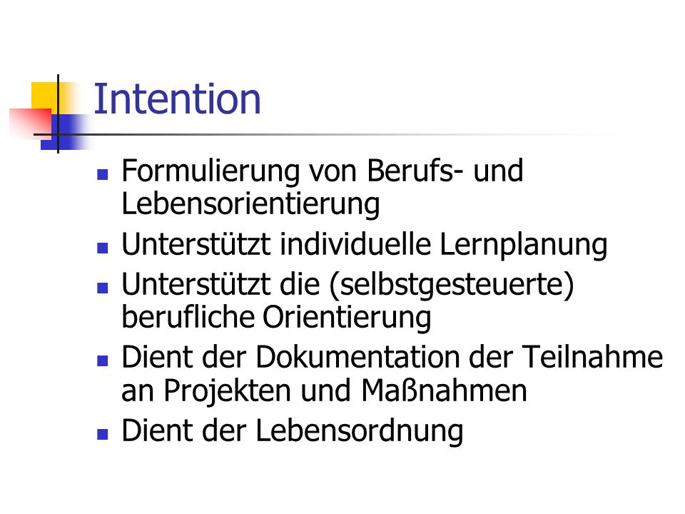 Intention Formulierung von Berufs- und Lebensorientierung