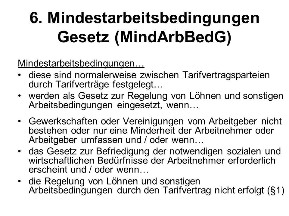 6. Mindestarbeitsbedingungen Gesetz (MindArbBedG)