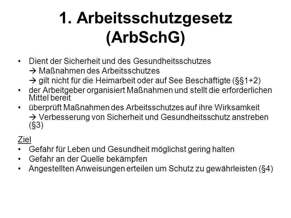 1. Arbeitsschutzgesetz (ArbSchG)