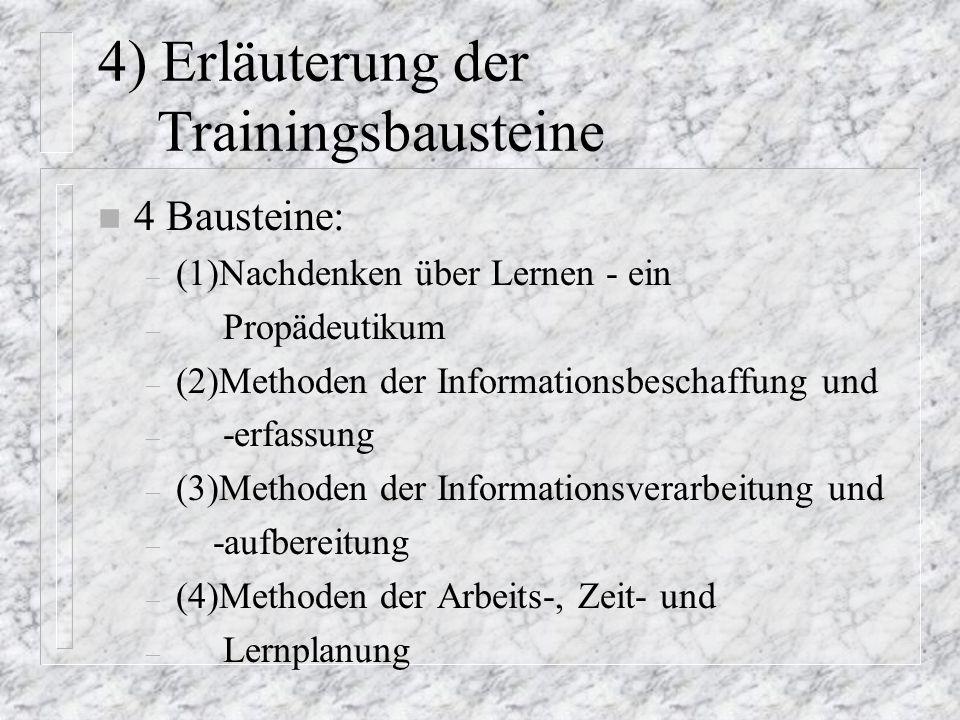 4) Erläuterung der Trainingsbausteine