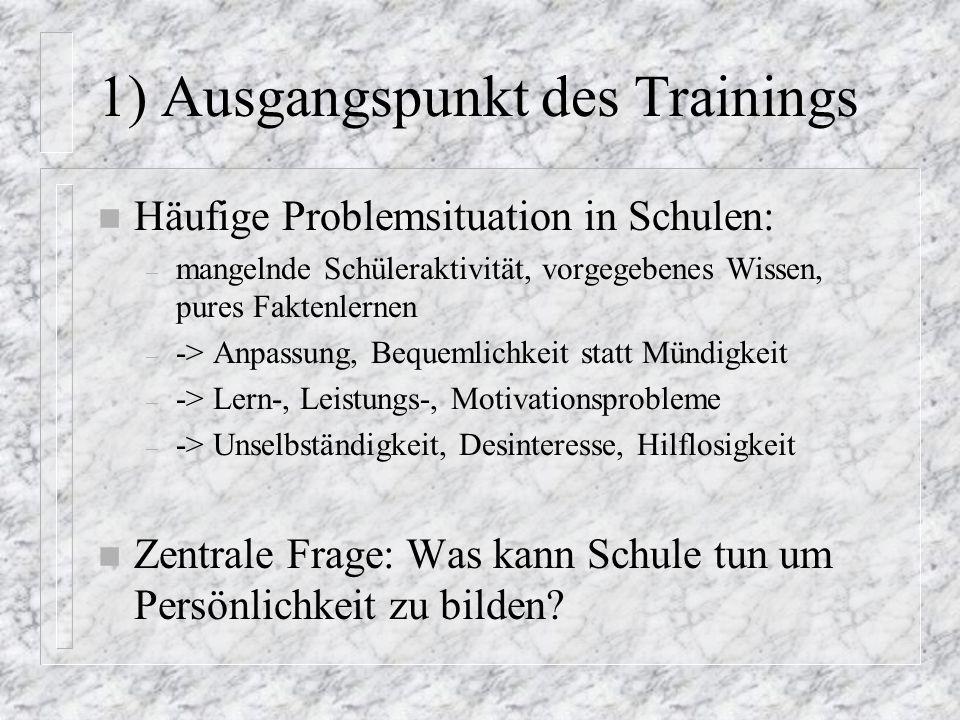 1) Ausgangspunkt des Trainings