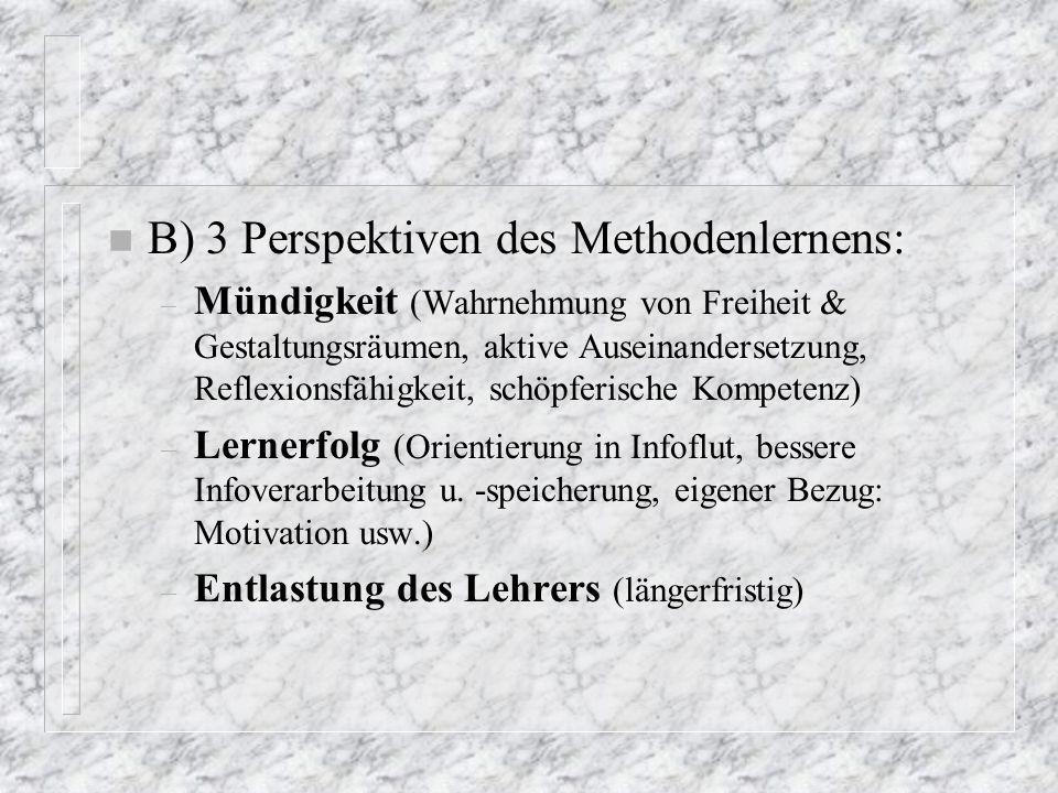 B) 3 Perspektiven des Methodenlernens: