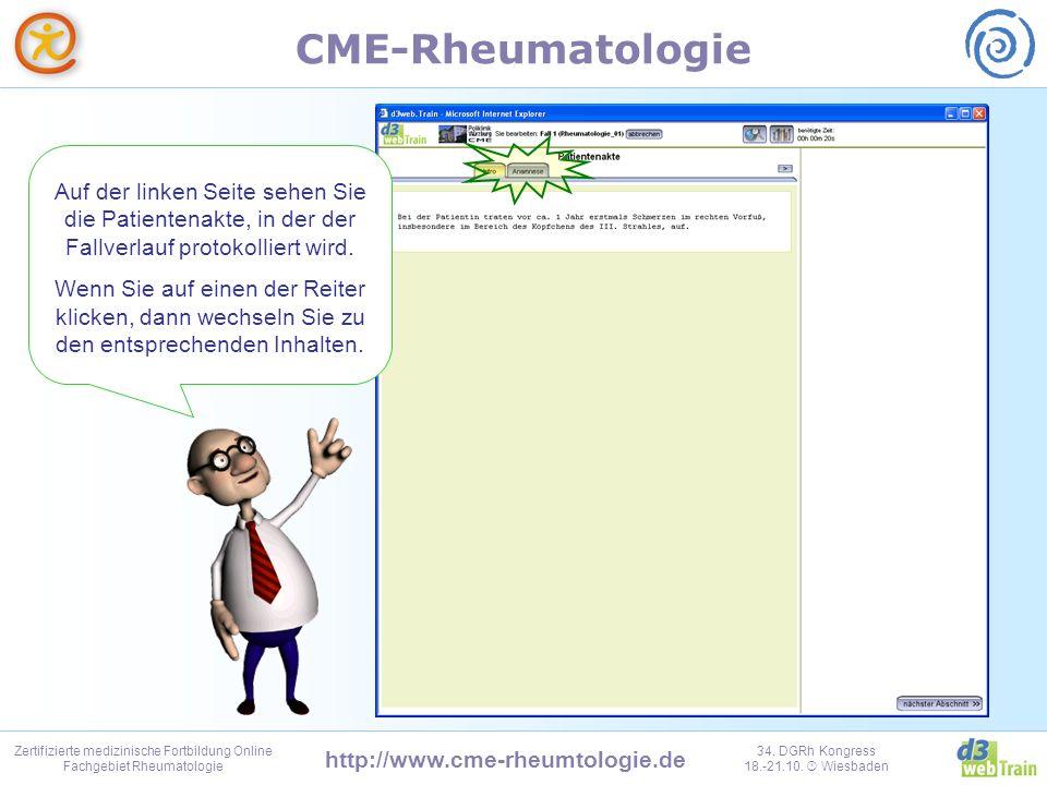 Auf der linken Seite sehen Sie die Patientenakte, in der der Fallverlauf protokolliert wird.