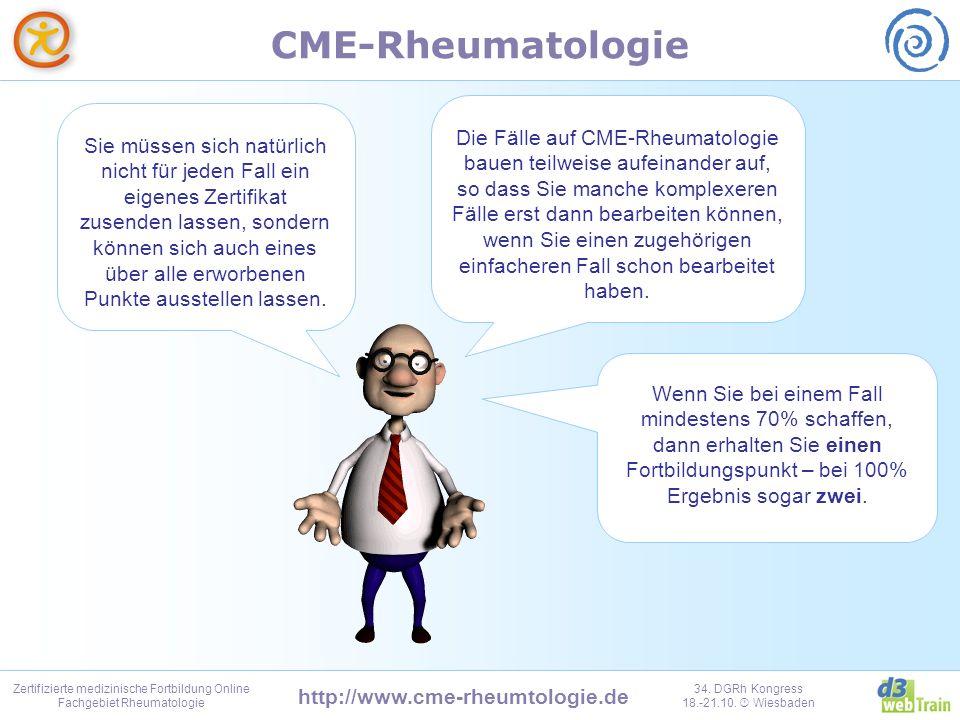 Die Fälle auf CME-Rheumatologie bauen teilweise aufeinander auf, so dass Sie manche komplexeren Fälle erst dann bearbeiten können, wenn Sie einen zugehörigen einfacheren Fall schon bearbeitet haben.